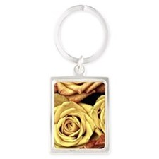 Golden Roses Portrait Keychain