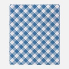 Steel Blue Gingham Throw Blanket