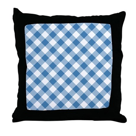 Steel Blue Throw Pillows : Steel Blue Gingham Throw Pillow by Admin_CP3895098