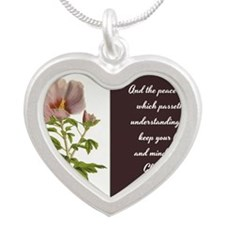 Constans Hibiscus - God Give Silver Heart Necklace