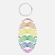 Rainbow Moustaches Aluminum Oval Keychain