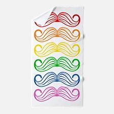 Rainbow Moustaches Beach Towel