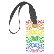 Rainbow Moustaches Luggage Tag