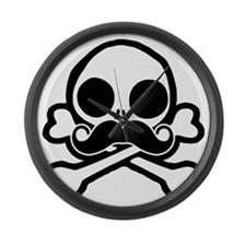 Cute Skull With Moustache Large Wall Clock