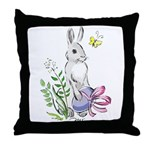 Pretty Easter Bunny Throw Pillow