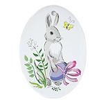 Pretty Easter Bunny Oval Ornament