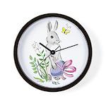 Pretty Easter Bunny Wall Clock
