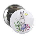 Pretty Easter Bunny Button