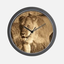 African Lioness Wall Clock