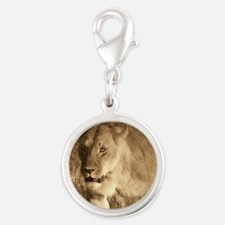 African Lioness Silver Round Charm