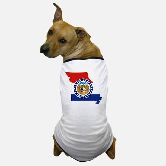 Missouri State Flag and Map Dog T-Shirt