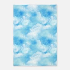 Long Blue Sky Puffy White Clouds 5'x7'Area Rug