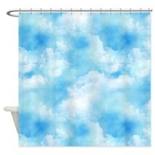 Short Blue Sky Puffy White Clouds Shower Curtain