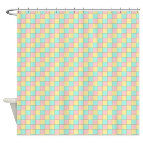 short pastel yellow green and pink shower curtain by admin cp51336015. Black Bedroom Furniture Sets. Home Design Ideas