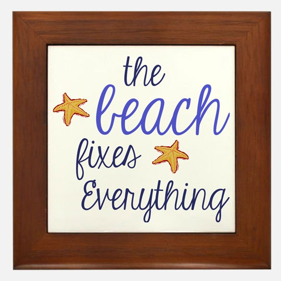 The Beach Fixes Everything Framed Tile