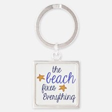 The Beach Fixes Everything Square Keychain