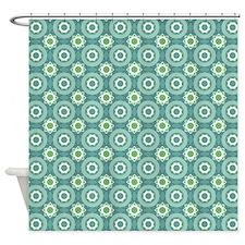 Short Graphic Bullseyes in Blue Gre Shower Curtain
