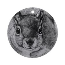 Squirrel Sketch 2 Round Ornament