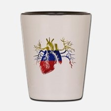 Venezuela Flag in Real heart Shot Glass
