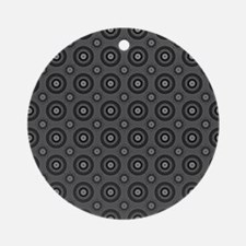 Short Graphic Bullseyes in Black an Round Ornament