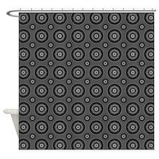 Short Graphic Bullseyes in Black an Shower Curtain