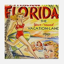 Vintage Florida Vacation Land Tile Coaster