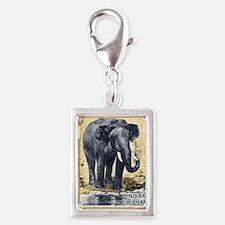 Vintage 1963 India Elephant  Silver Portrait Charm