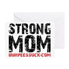 STRONG MOM - WHITE Greeting Card