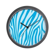 Baby Blue Zebra Print Wall Clock