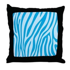 Baby Blue Zebra Print Throw Pillow