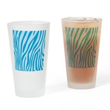 Baby Blue Zebra Print Drinking Glass