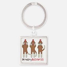Monkey Business Square Keychain