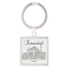Istanbul_12X12_HagiaSophia_Black Square Keychain