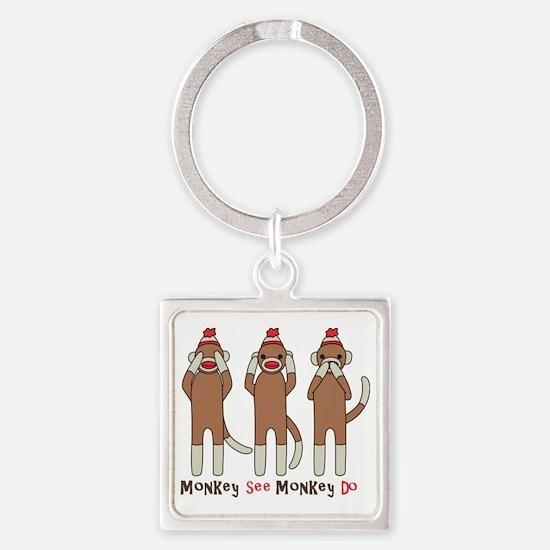 Monkey See Monkey Do Square Keychain