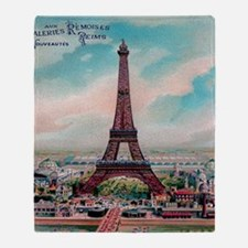 Vintage Colorful Eiffel Tower Postca Throw Blanket