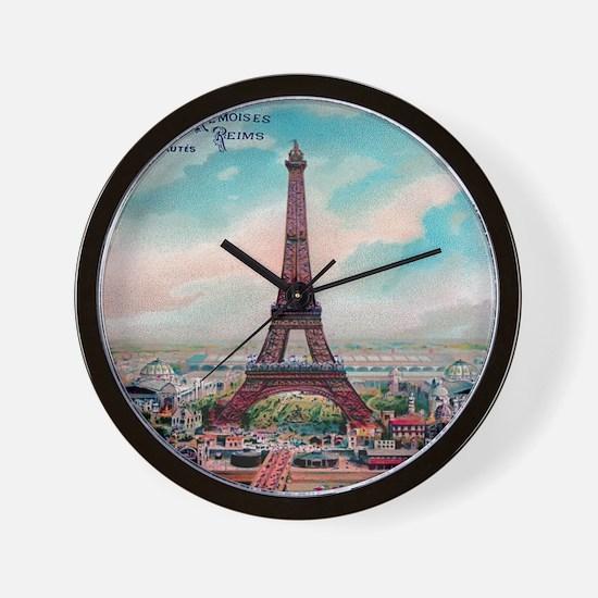 Vintage Colorful Eiffel Tower Postcard Wall Clock