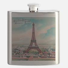 Vintage Colorful Eiffel Tower Postcard Flask