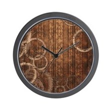 Steampunk Gears and Wallpaper Wall Clock