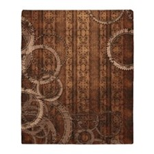Steampunk Gears and Wallpaper Throw Blanket