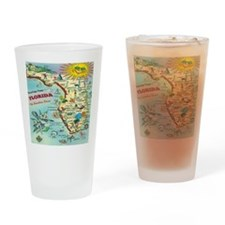 Vintage Florida Greetings Map Drinking Glass
