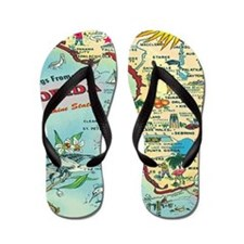 Vintage Florida Greetings Map Flip Flops