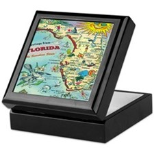 Vintage Florida Greetings Map Keepsake Box