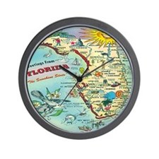Vintage Florida Greetings Map Wall Clock