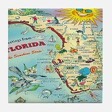 Vintage Florida Greetings Map Tile Coaster