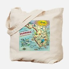 Vintage Florida Greetings Map Tote Bag