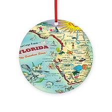 Vintage Florida Greetings Map Round Ornament