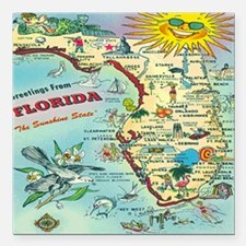 "Vintage Florida Greeting Square Car Magnet 3"" x 3"""