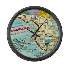 Vintage Florida Greetings Map Large Wall Clock