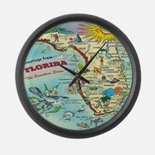 Vintage Florida Greetings Map Large Wall Clock