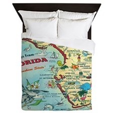 Vintage Florida Greetings Map Queen Duvet